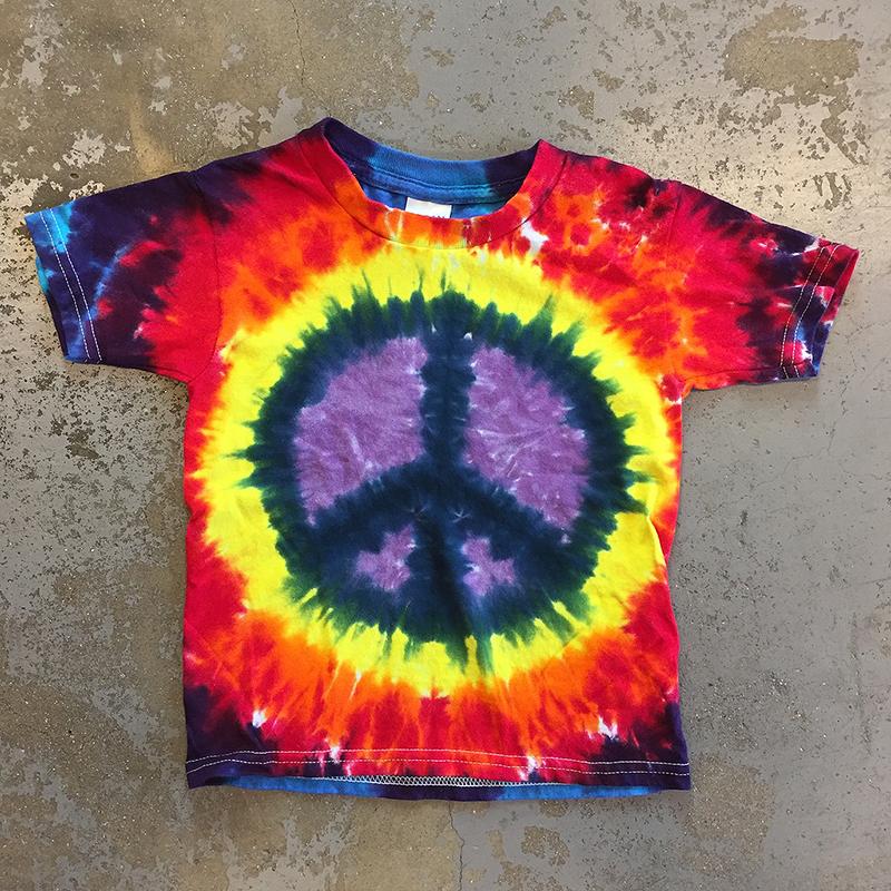 Grateful Dead Peace Sign Symbol Tie Dye Kids Tee Purple